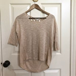 Light Brown Tee with Crochet Back